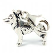 Husky Dog Sterling Silver Clip On Charm - With Clasp